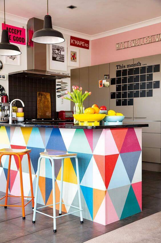 papel de parede para cozinha americana geometrico colorido