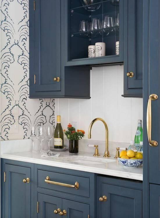 papel de parede para cozinha arabesco azul