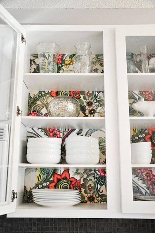 papel de parede para cozinha armario estampado