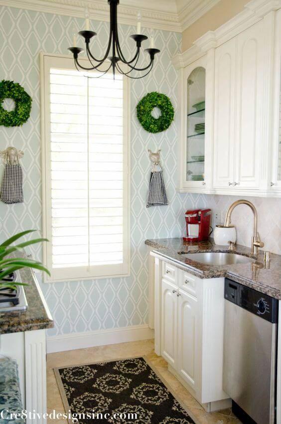 papel de parede para cozinha azul claro cozinha pequena