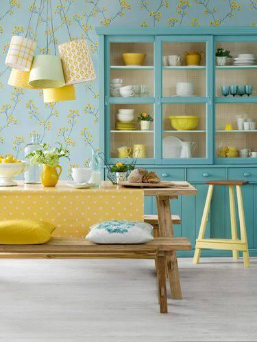 papel de parede para cozinha azul e amarelo florido