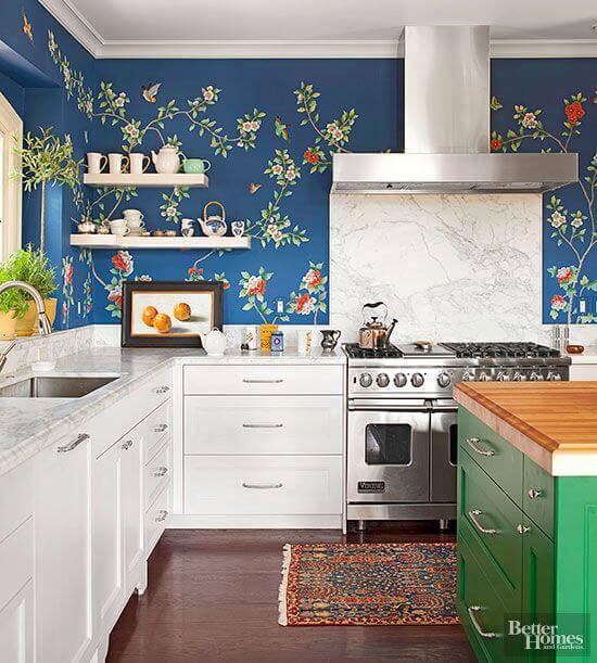 papel de parede para cozinha azul florido