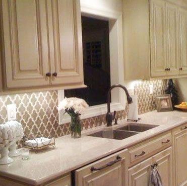 papel de parede para cozinha bege estampado