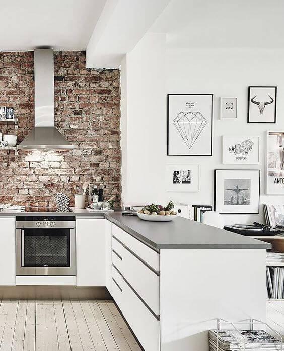papel de parede para cozinha branca tijolos a vista