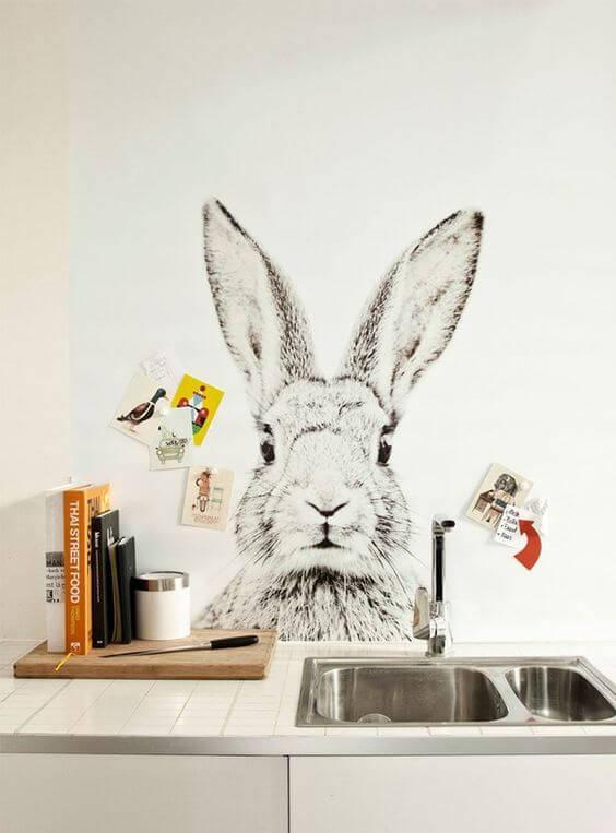 papel de parede para cozinha coelho branco