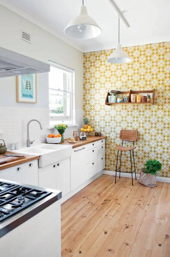 papel de parede para cozinha estampado amarelo retro