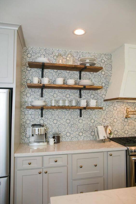 papel de parede para cozinha estampado azul e branco