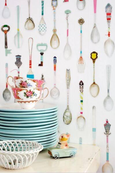 papel de parede para cozinha estampado colheres coloridas detalhe