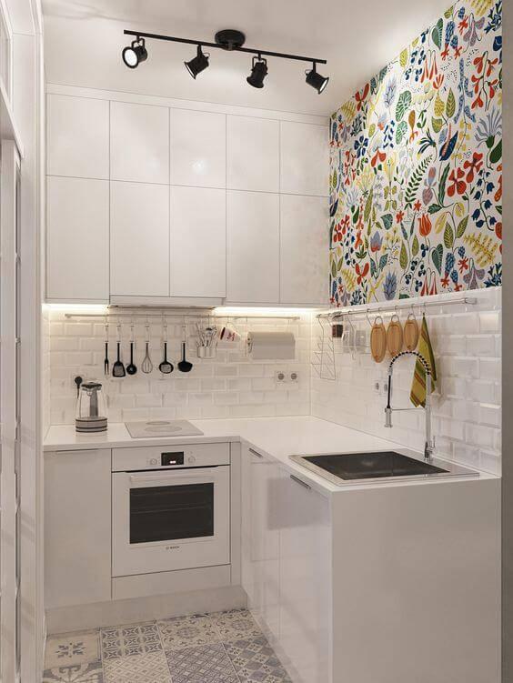 papel de parede para cozinha estampado flores e folhas
