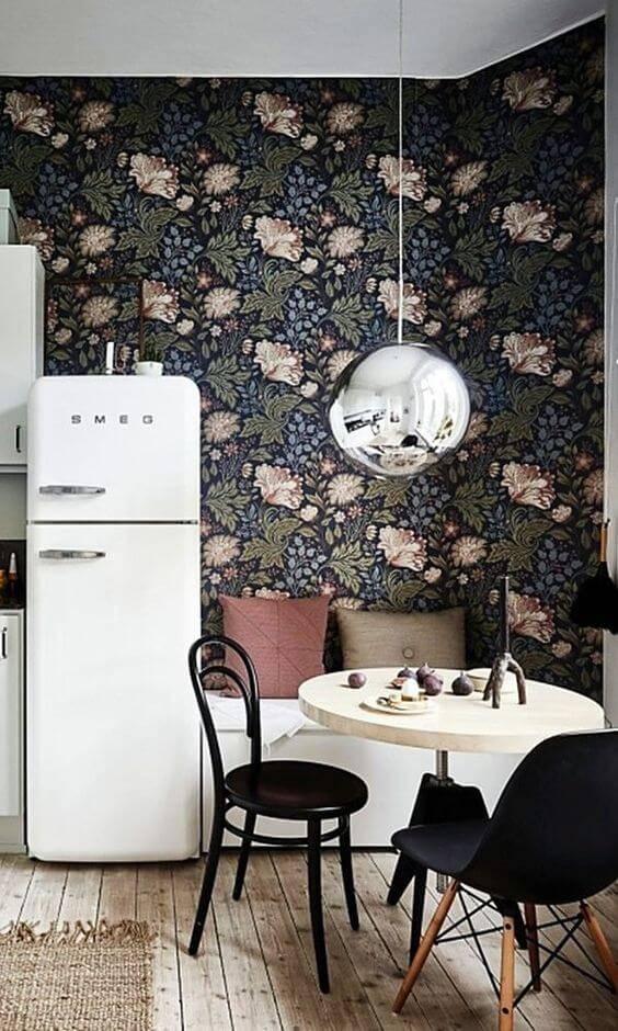 papel de parede para cozinha floral fundo escuro