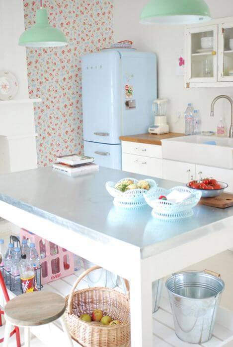 papel de parede para cozinha floral pequeno vintage