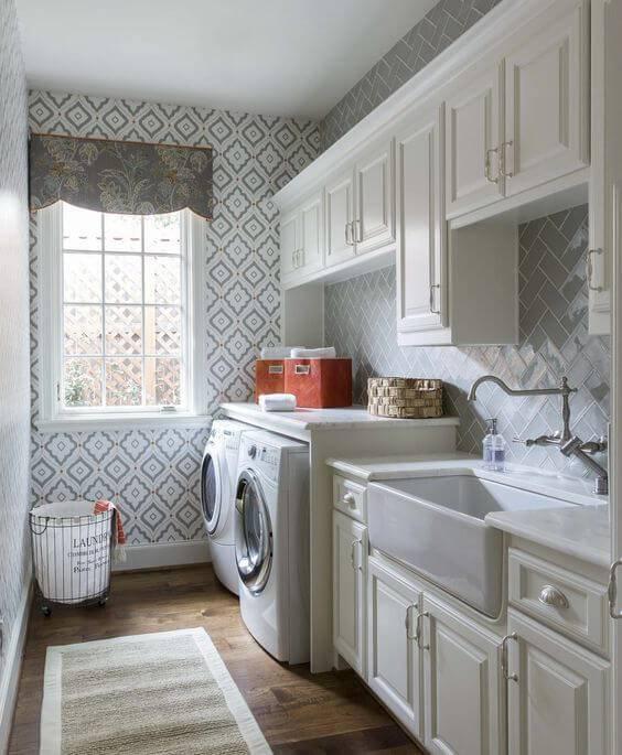 papel de parede para cozinha florido cinza integrado