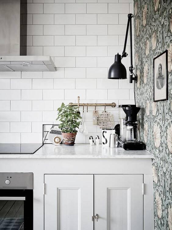 papel de parede para cozinha florido lateral
