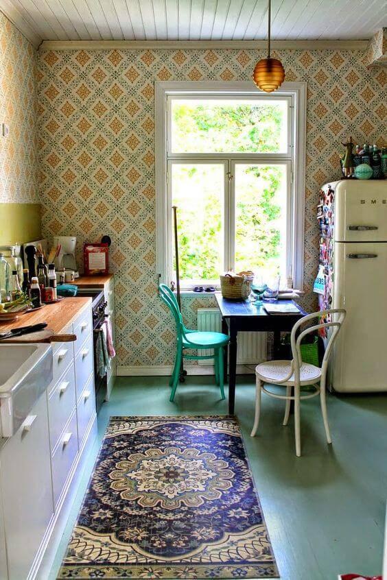 papel de parede para cozinha geometrico amarelo e azul