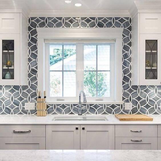 papel de parede para cozinha geometrico azul e branco