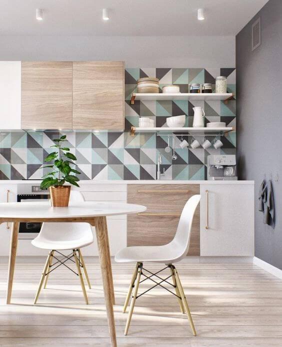 papel de parede para cozinha geometrico escandinavo
