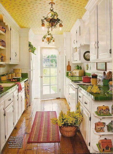 papel de parede para cozinha no teto ambiente rustico