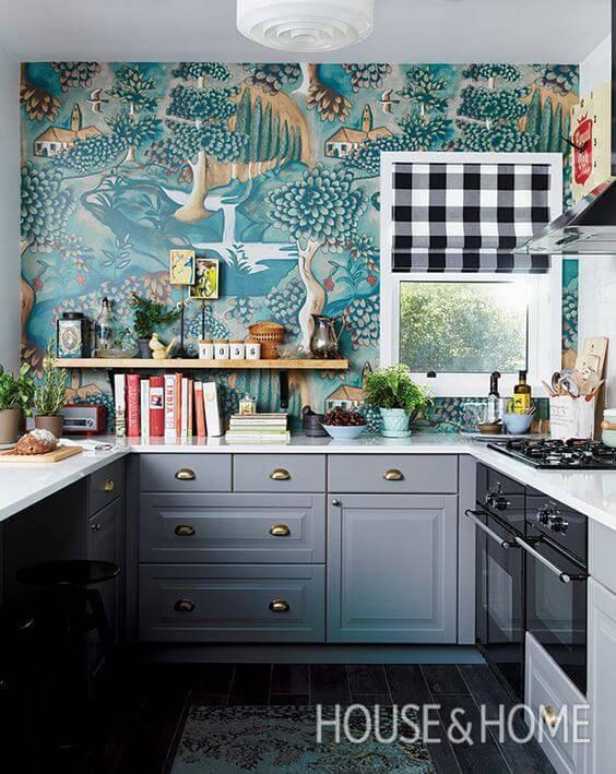 papel de parede para cozinha paisagem casas
