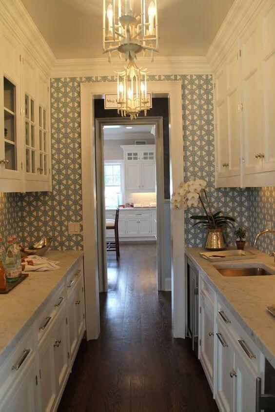 papel de parede para cozinha pequena estampado