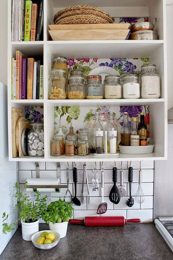 papel de parede para cozinha prateleira florida