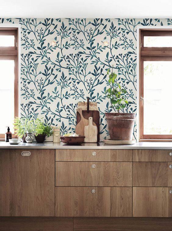 papel de parede para cozinha ramos de plantas