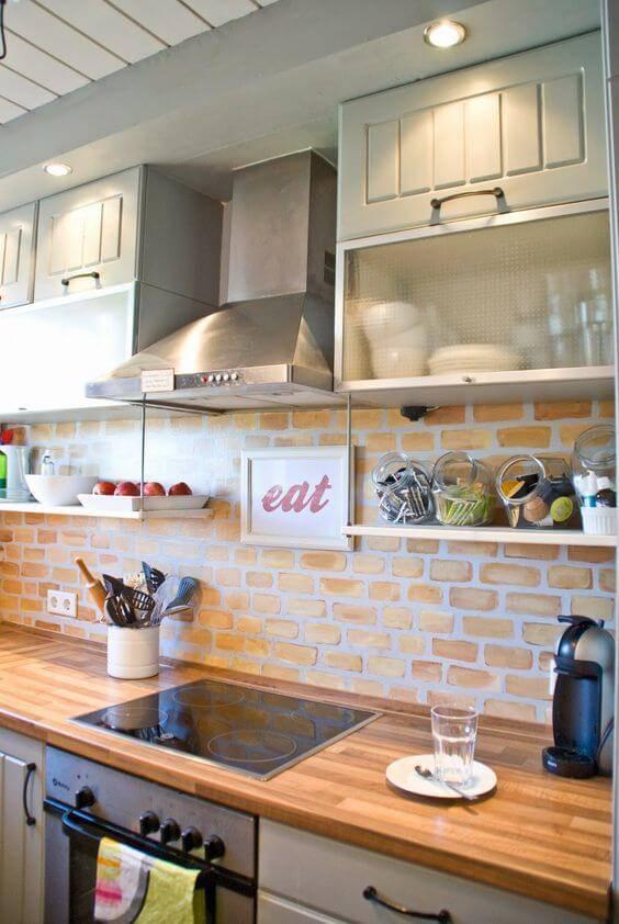 papel de parede para cozinha tijolinhos expostos