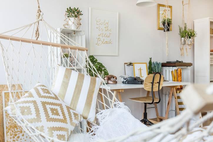 quarto hippie com rede