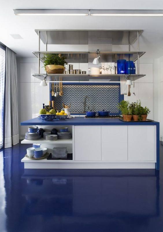 resina epoxi azul cozinha com bancada