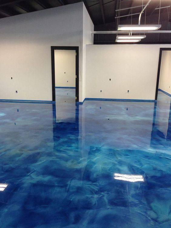 resina epoxi azul mescalada ambiente amplo