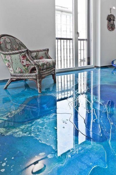 resina epoxi azul sala com poltrona