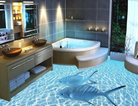 resina epoxi banheiro com peixe