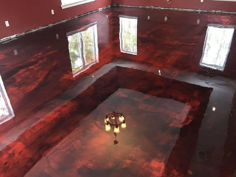 resina epoxi chão marmorizado vermelho