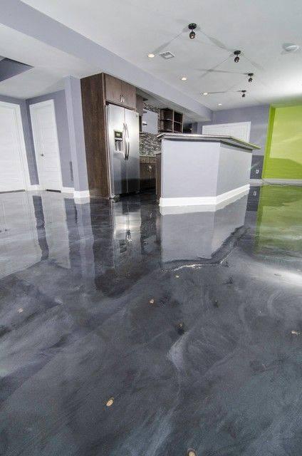 resina epoxi cinza marmorizada cozinha com balcao