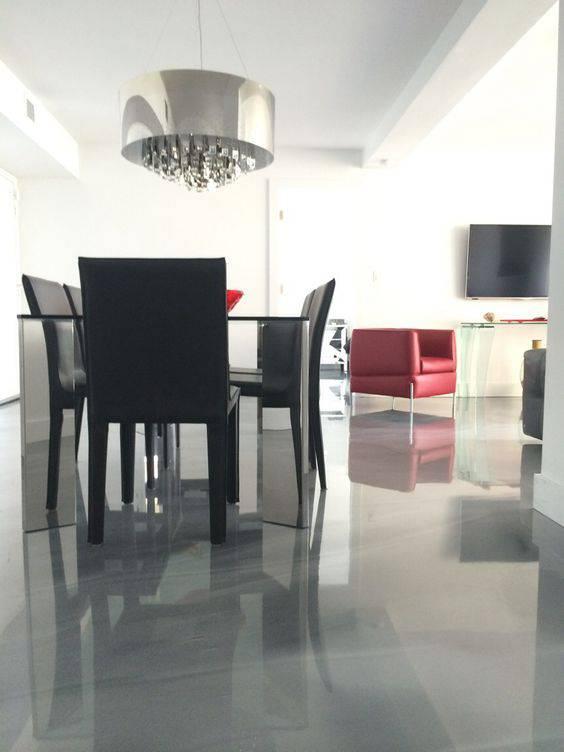 resina epoxi cinza sala de jantar