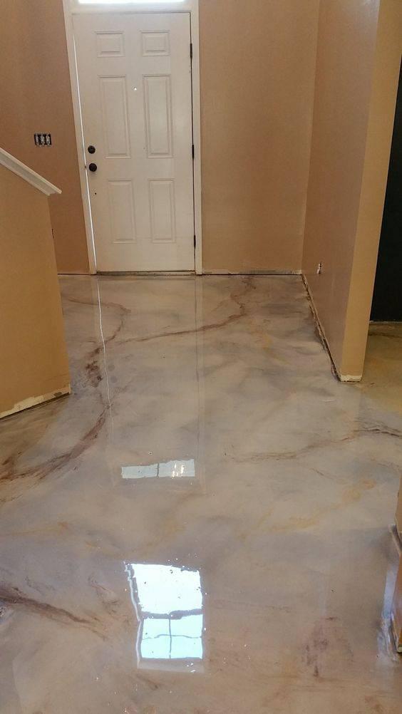 resina epoxi hall de entrada marmorizado