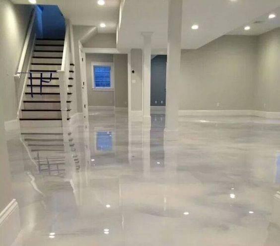 resina epoxi marmorizada sala iluminada