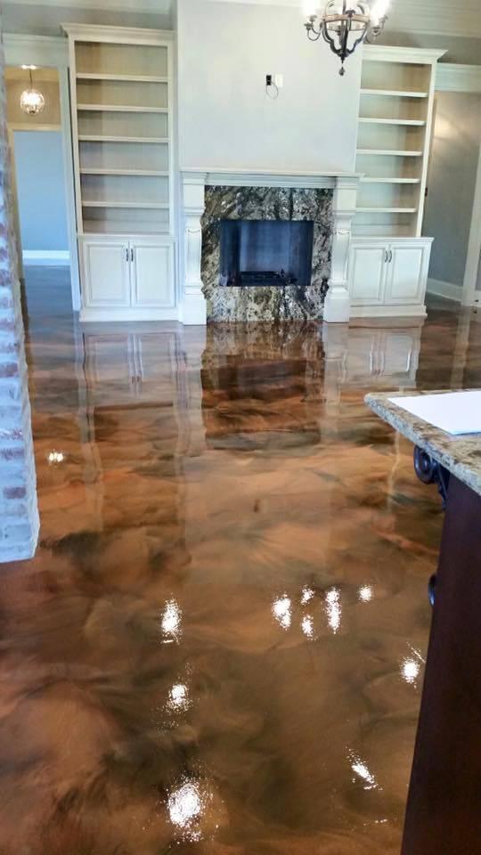 resina epoxi marrom mesclada sala de estar