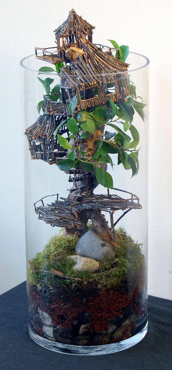 terrario em vaso alto casa na arvore