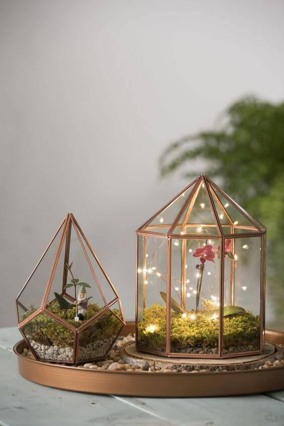 terrario pequeno armacao de cobre