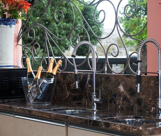 torneiras para cozinha gourmet ambiente externo