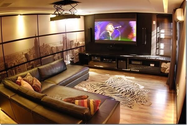 Sofá em formato L para sala de cinema