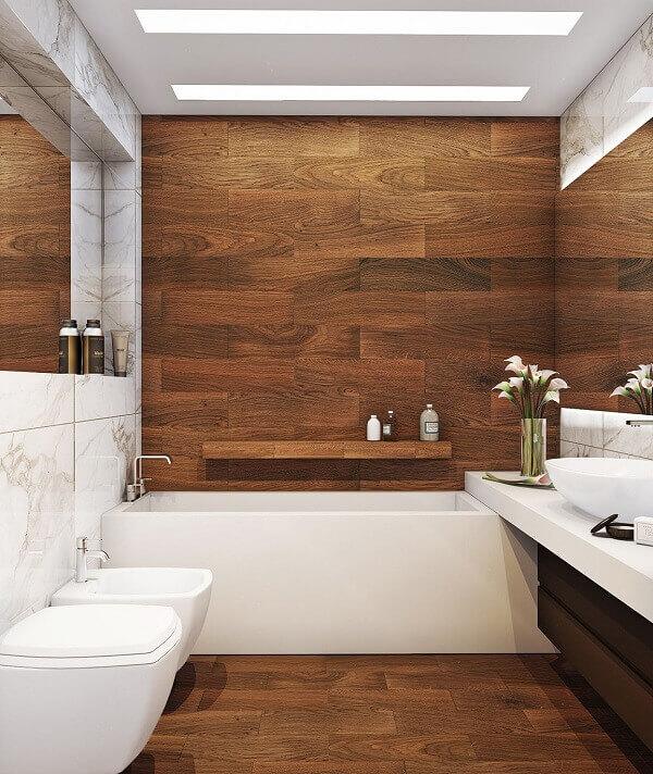 Revestimento para banheiro de madeira