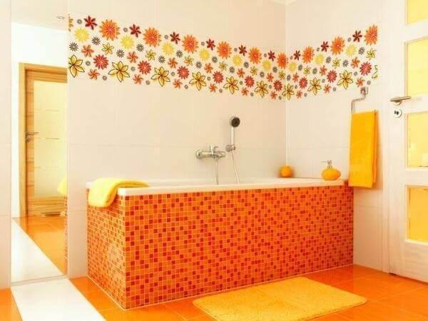 Revestimento para banheiro laranja