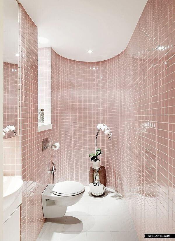 Revestimento para banheiro rosa claro