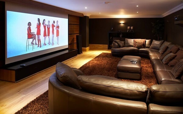 Sofá de couro para sala de cinema