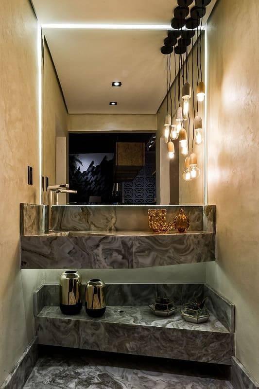 apartamento decorado banheiro com pedra e lampadas morar mais por menos goiania 151708
