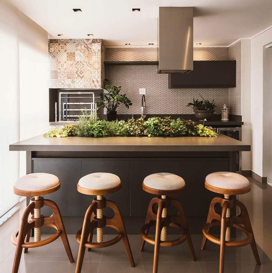 apartamento decorado com varanda gourmet Foto MEET Arquitetura