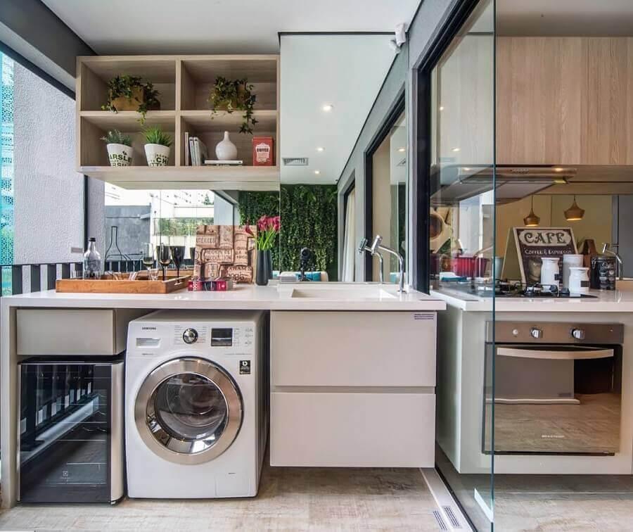 apartamento decorado com varanda planejada com lavanderia Foto Construindo Minha Casa Clean