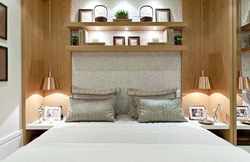 apartamento decorado quarto de casal com prateleiras maithia guedes 26087