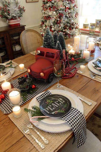 arranjos de natal para mesa caminhao com pinheiros